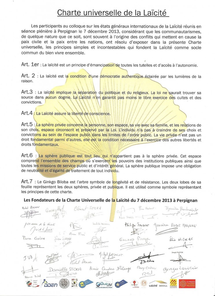 Charte Universelle de la Laïcité signée à Perpignan le 7 décembre 2013